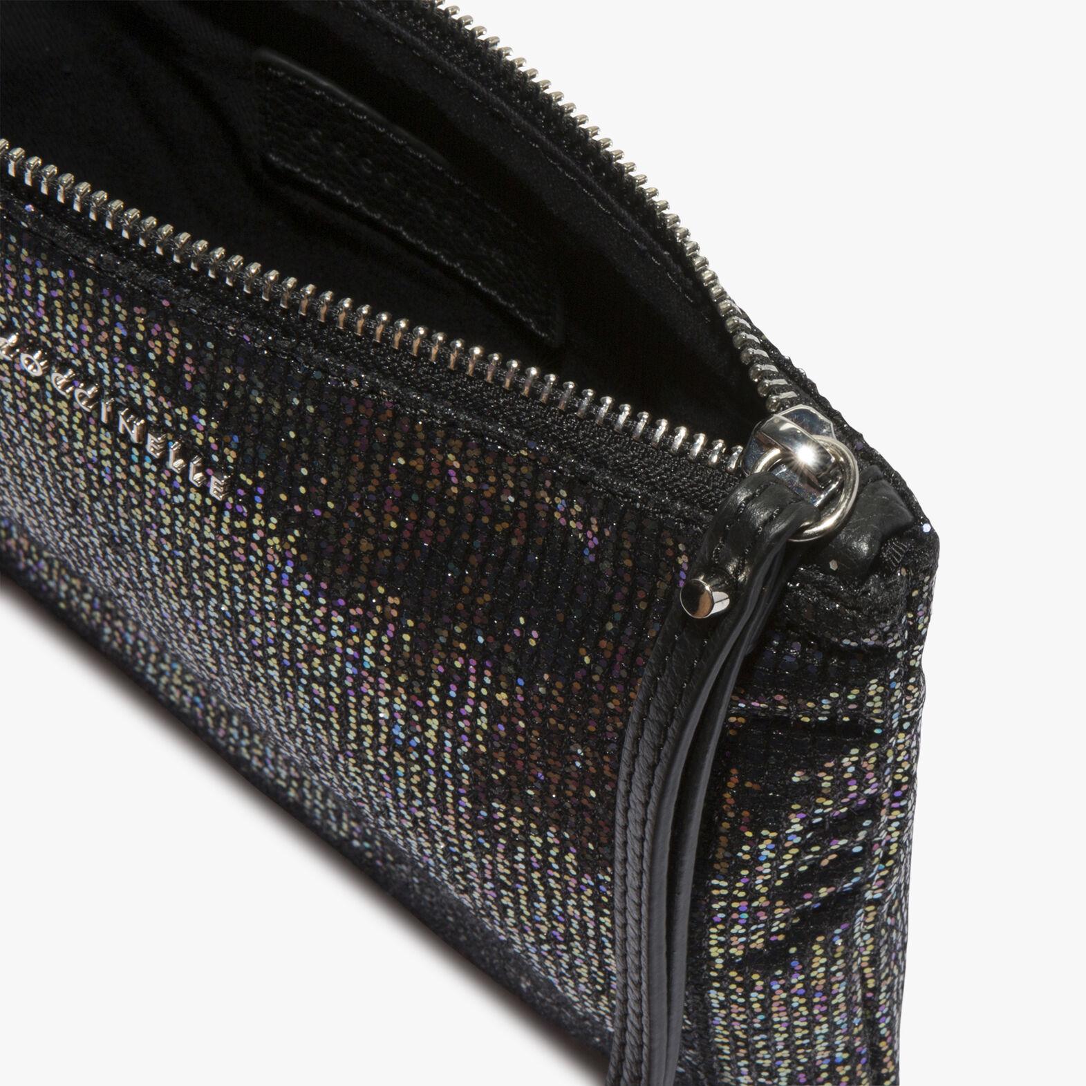 Glittery fabric clutch