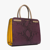 Python-print leather handbag