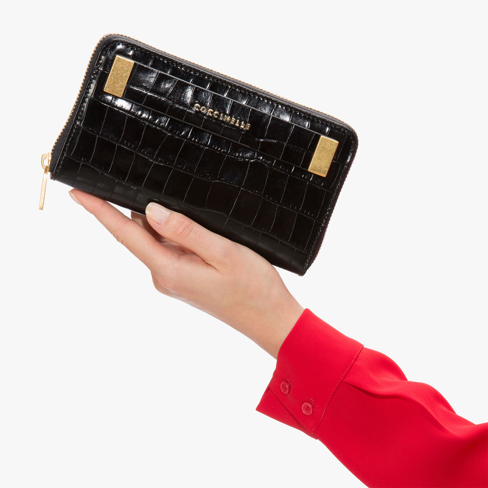 Crocodile-print leather wallet