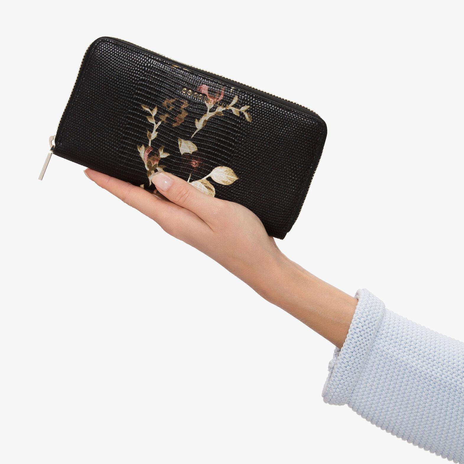 Lizard-print leather wallet