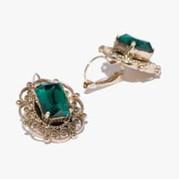 Brass and crystal earrings