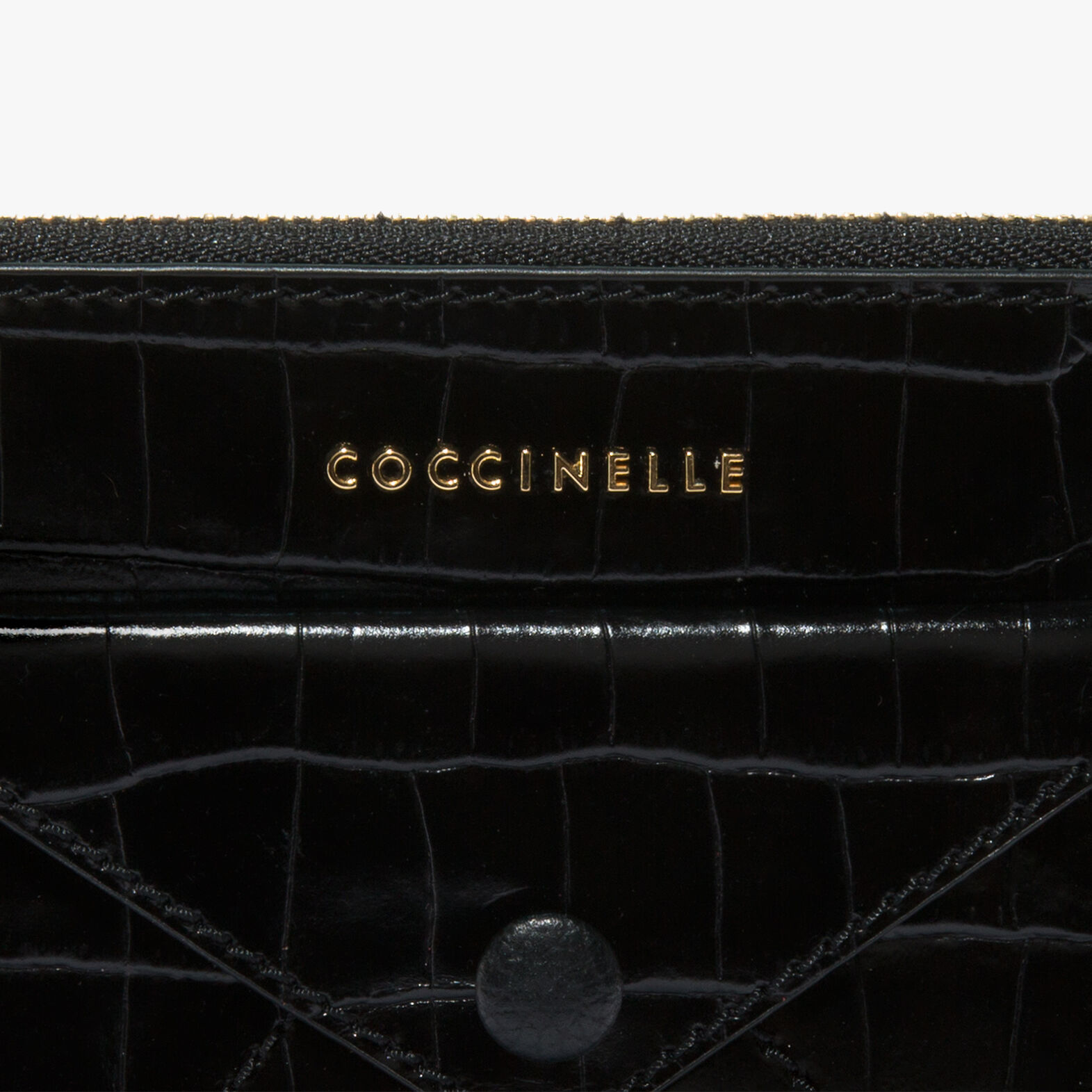 Coccinelle Crocodile-print leather clutch