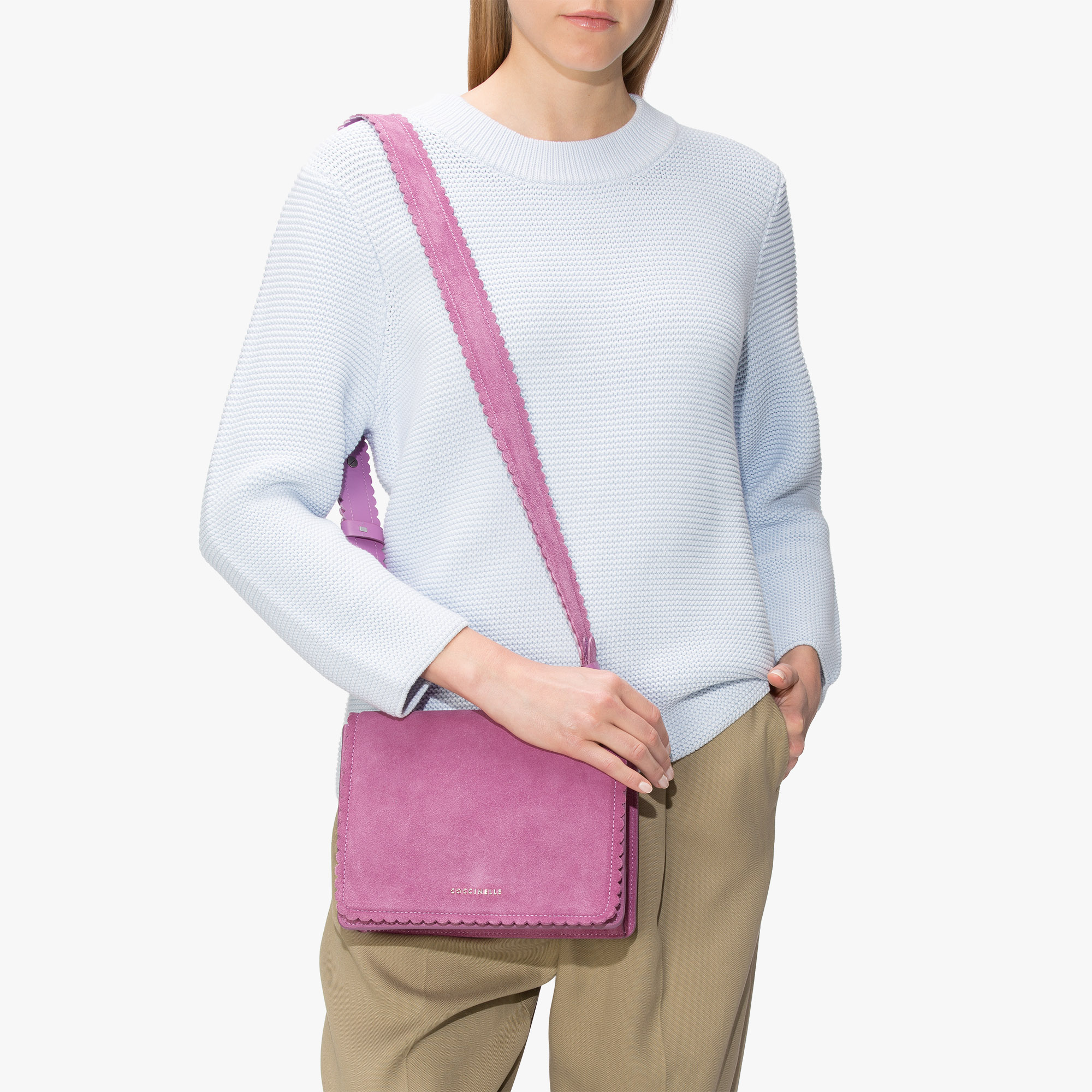 Leopoldine suede cross-body bag
