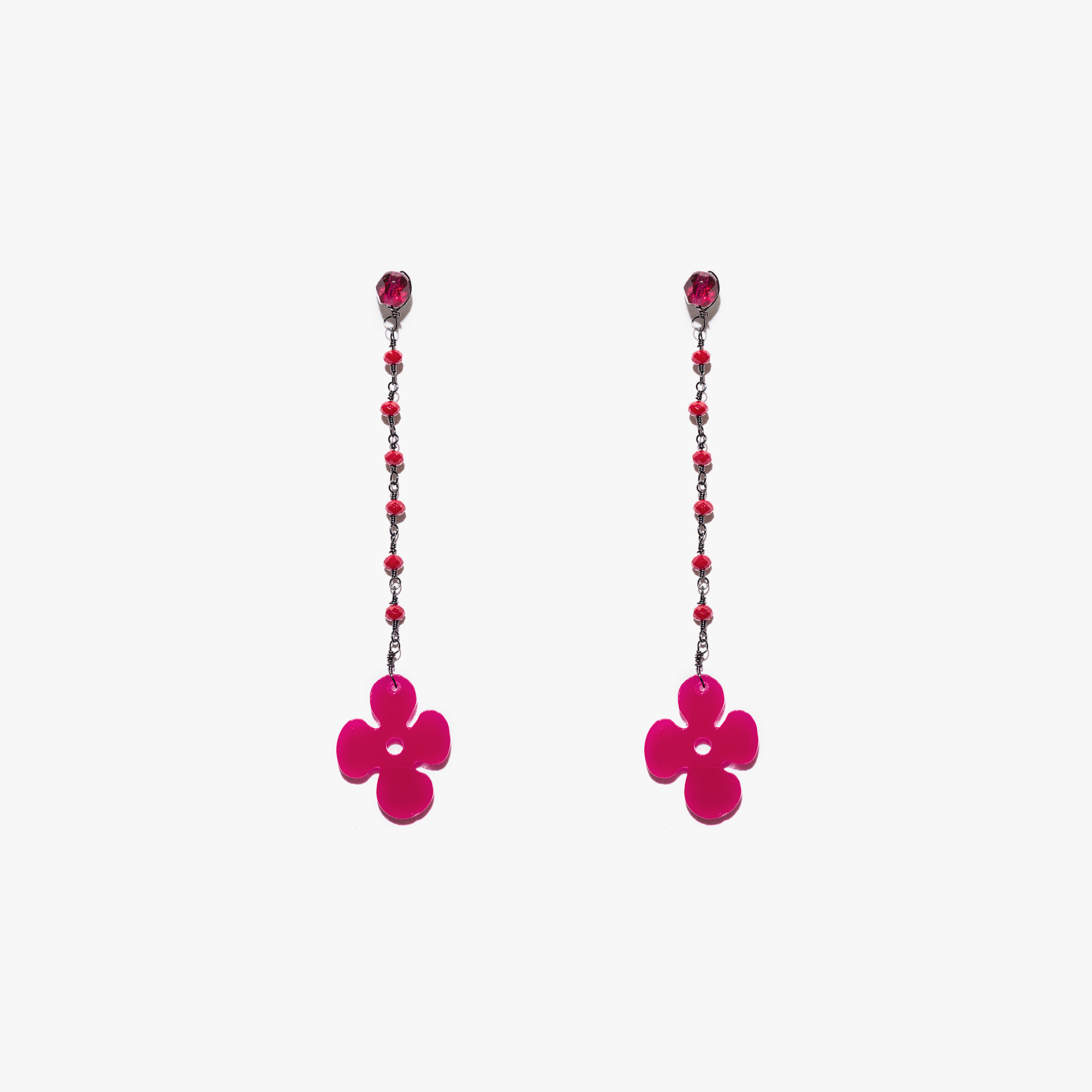 Coccinelle Plexiglas and crystal earrings