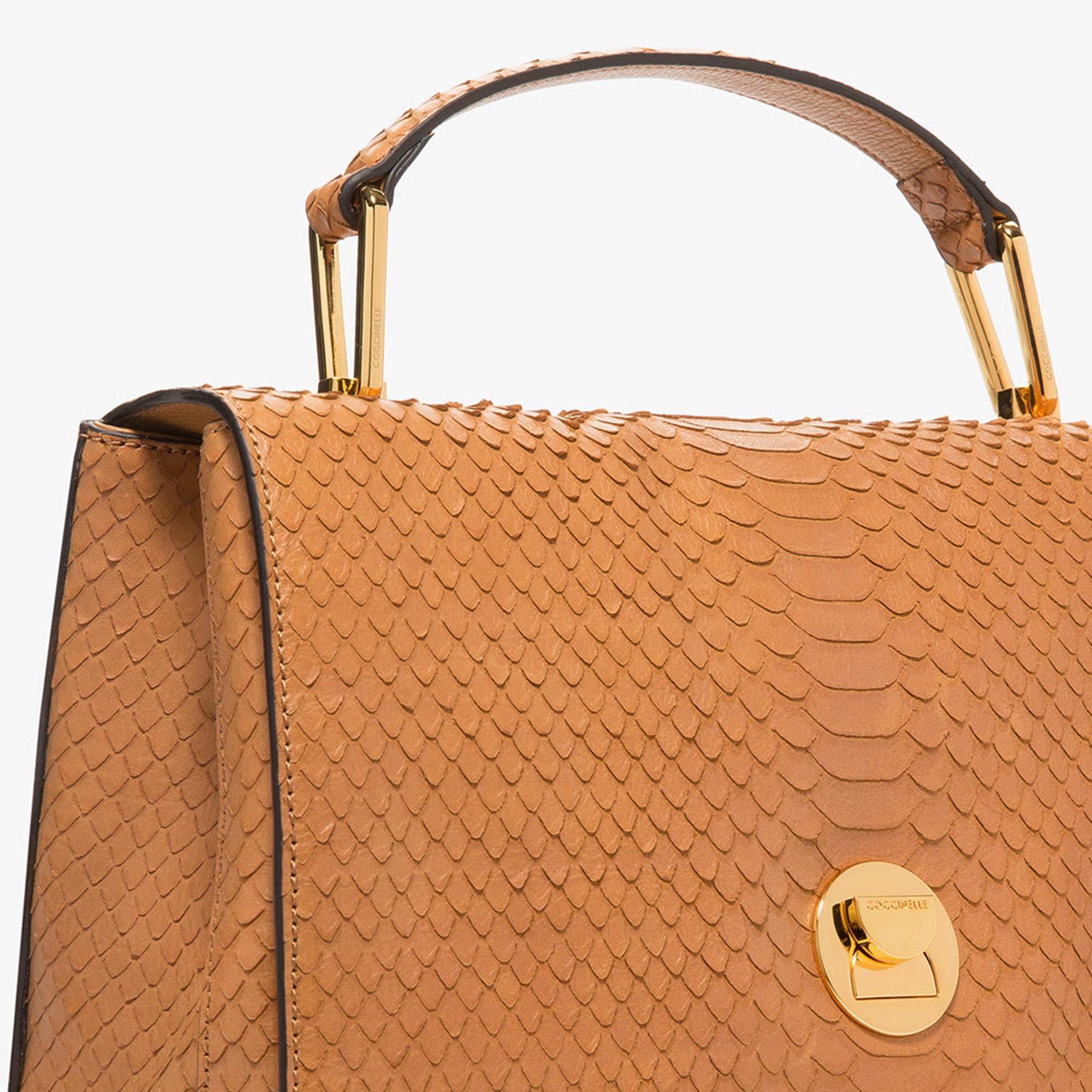 Liya python-print leather handbag