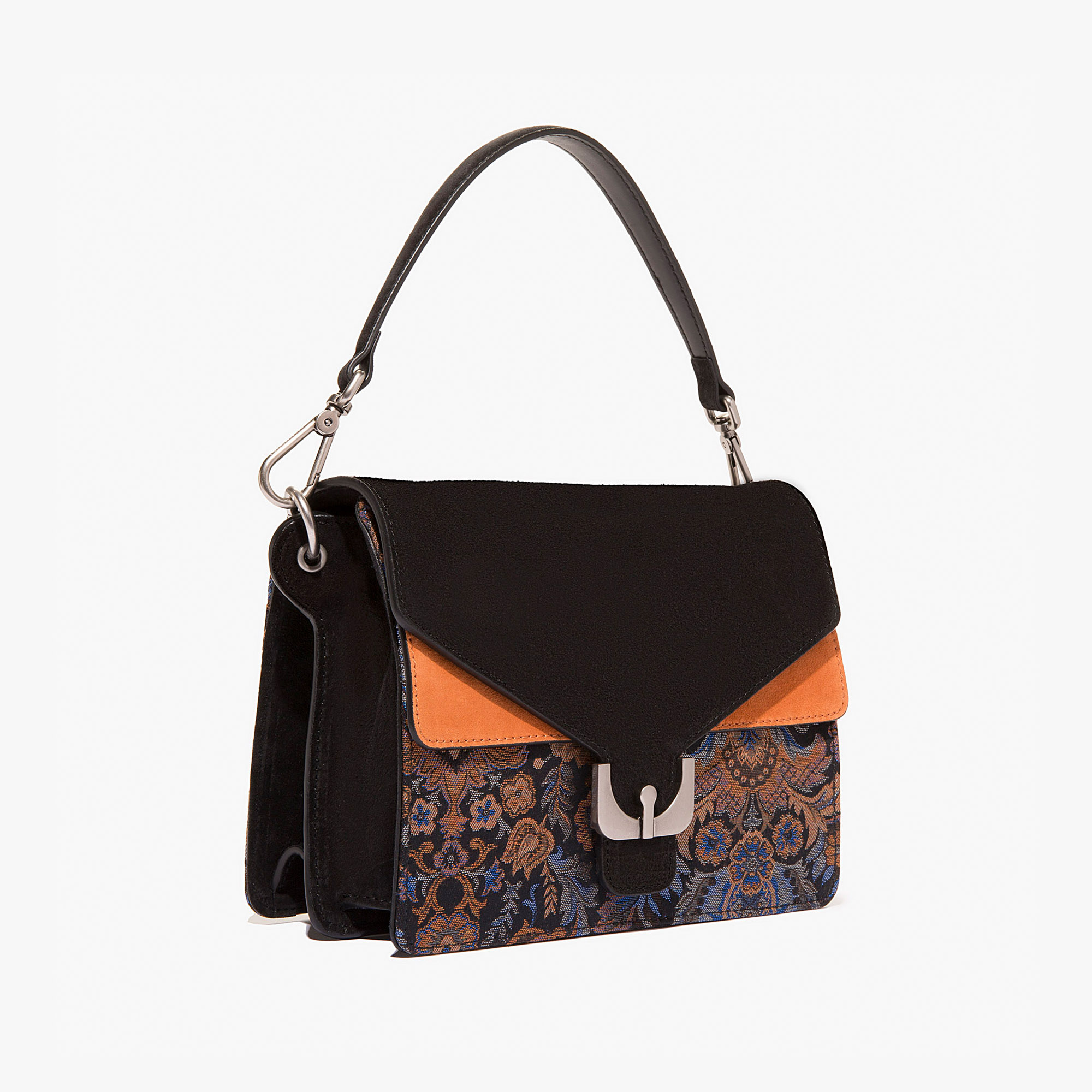Ambrine fabric and suede bag with a single strap