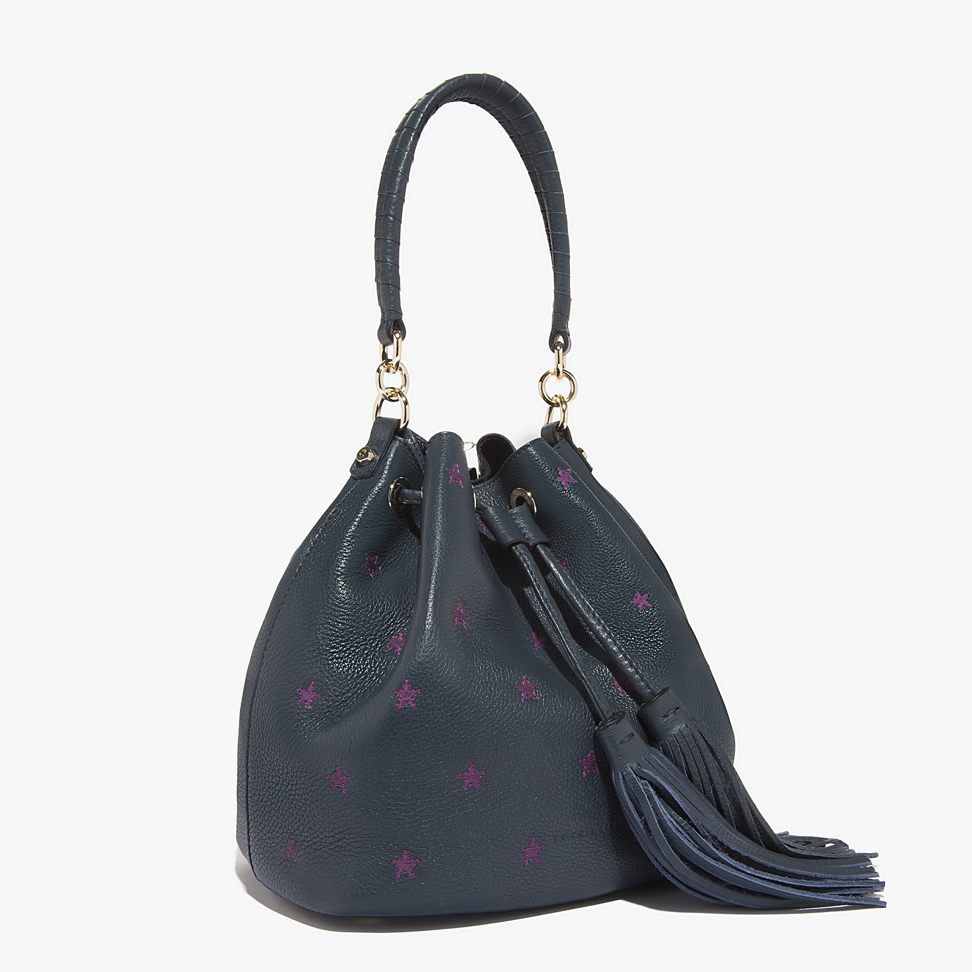 leonie leather bucket bag in bleu metal orchidee coccinelle. Black Bedroom Furniture Sets. Home Design Ideas