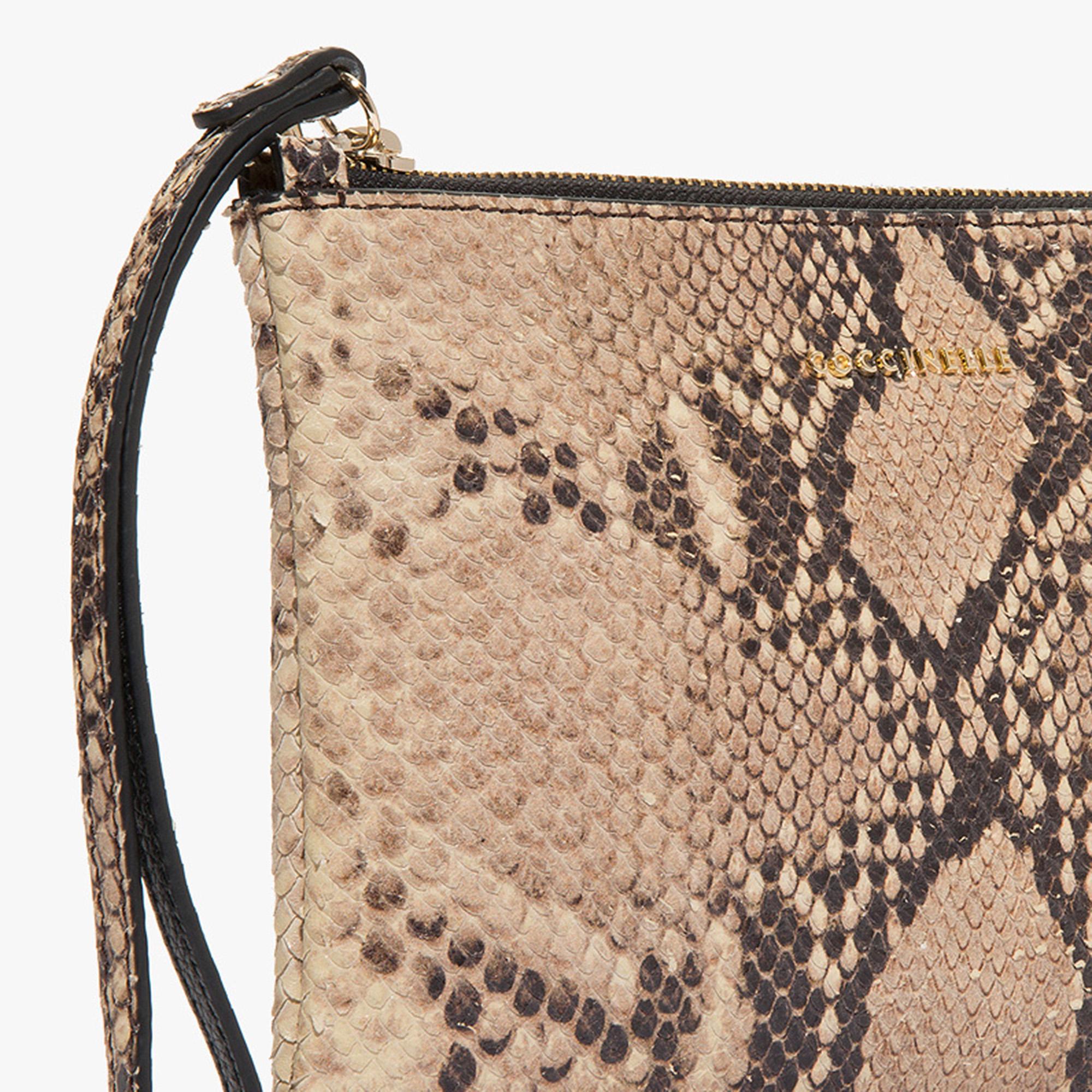 Coccinelle Python-print leather clutch