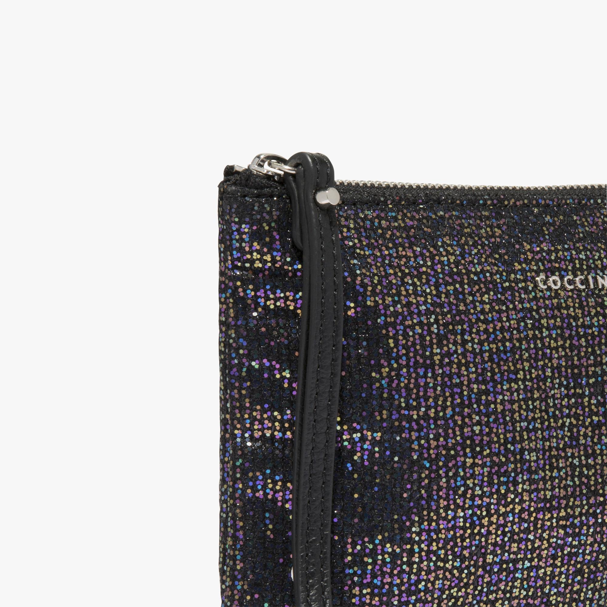 Coccinelle Glittery fabric clutch