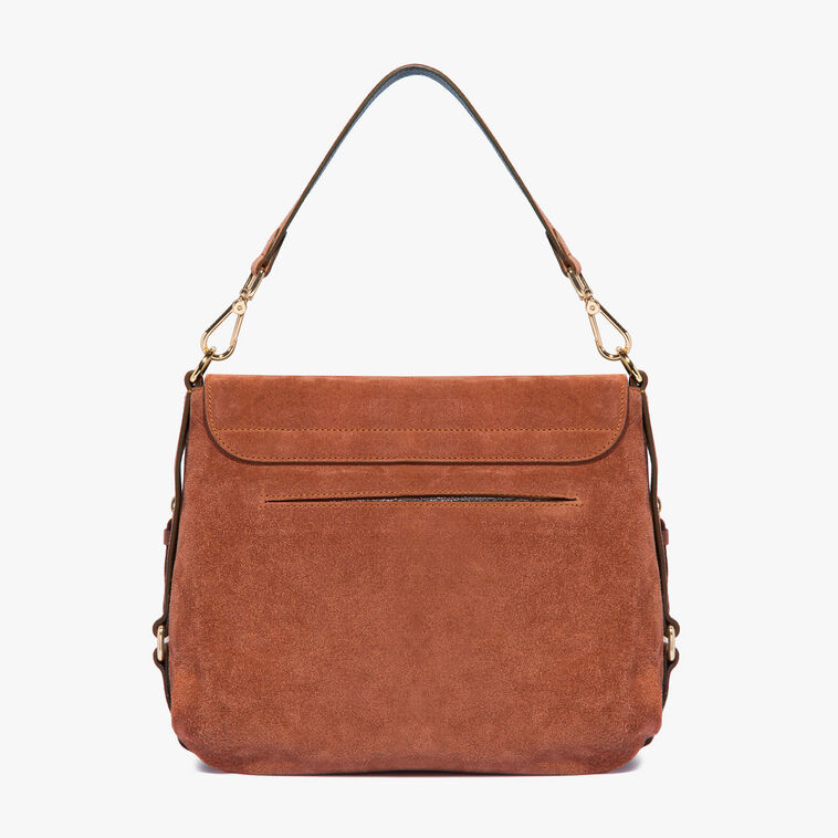 Janine suede bag with single shoulder strap