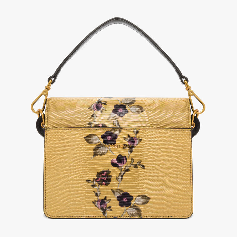 Ambrine lizard-print leather bag with a single strap