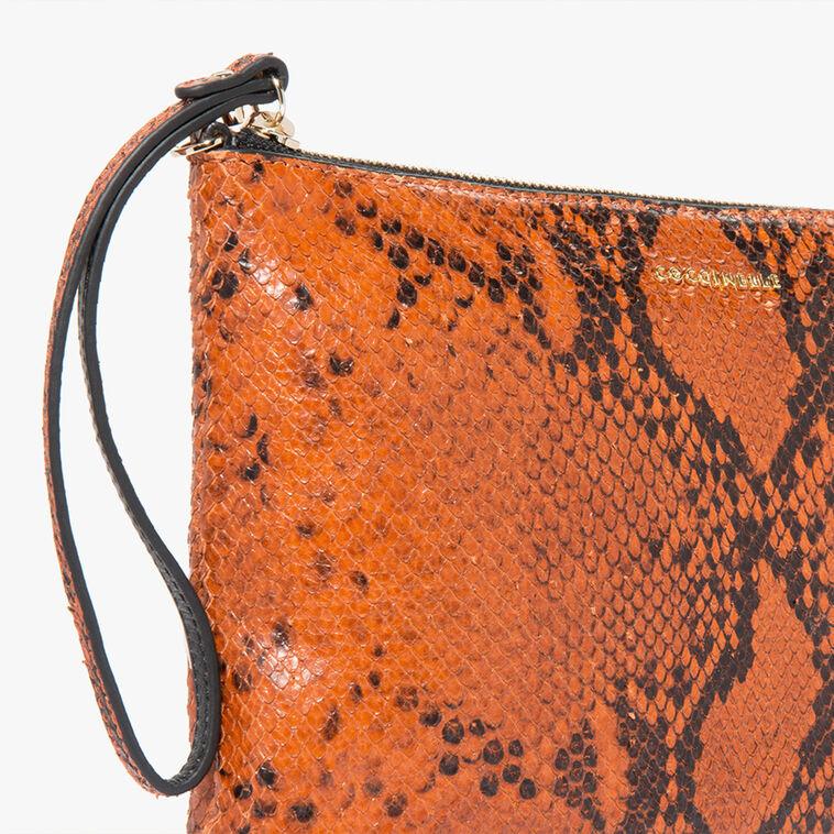 Python-print leather mini clutch