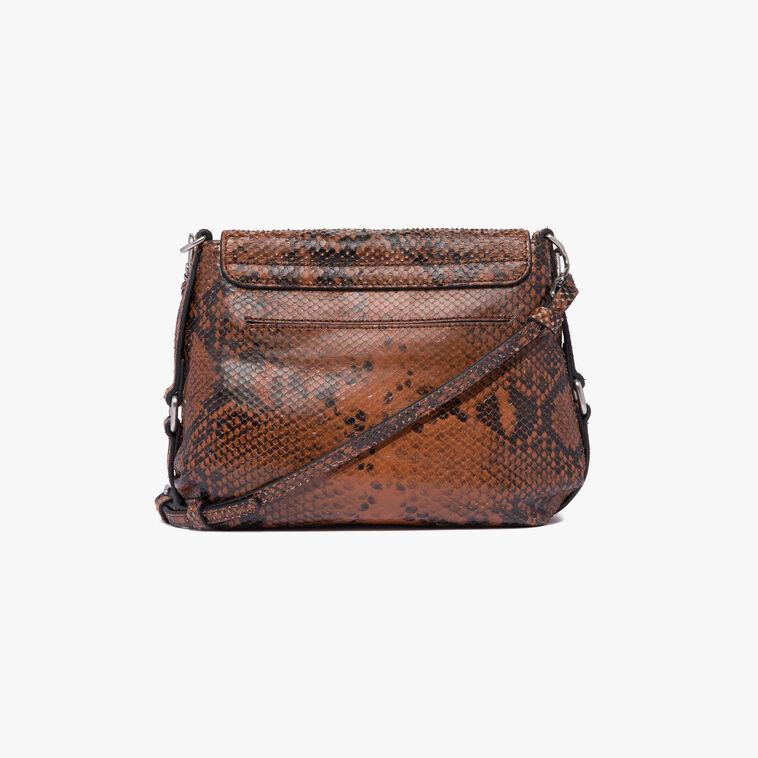 Python-print leather mini bag