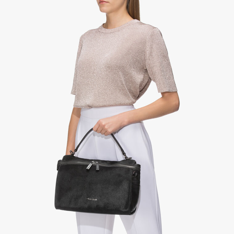 Atsuko Pony hair and leather shoulder bag