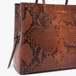 Farisa Python-print leather handbag