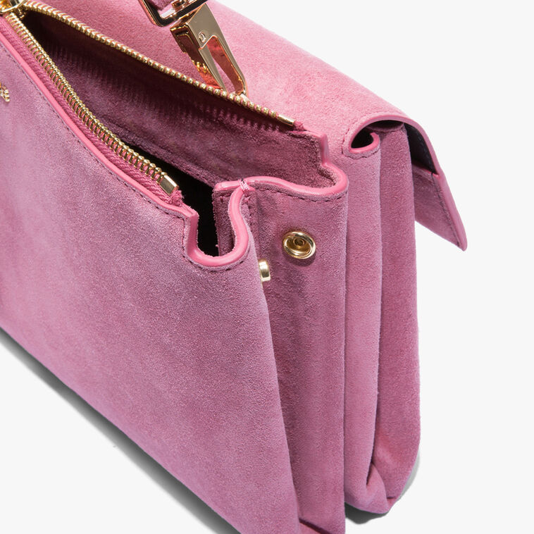 Arlettis single shoulder-strap suede bag