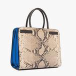 Python-print leather handbag