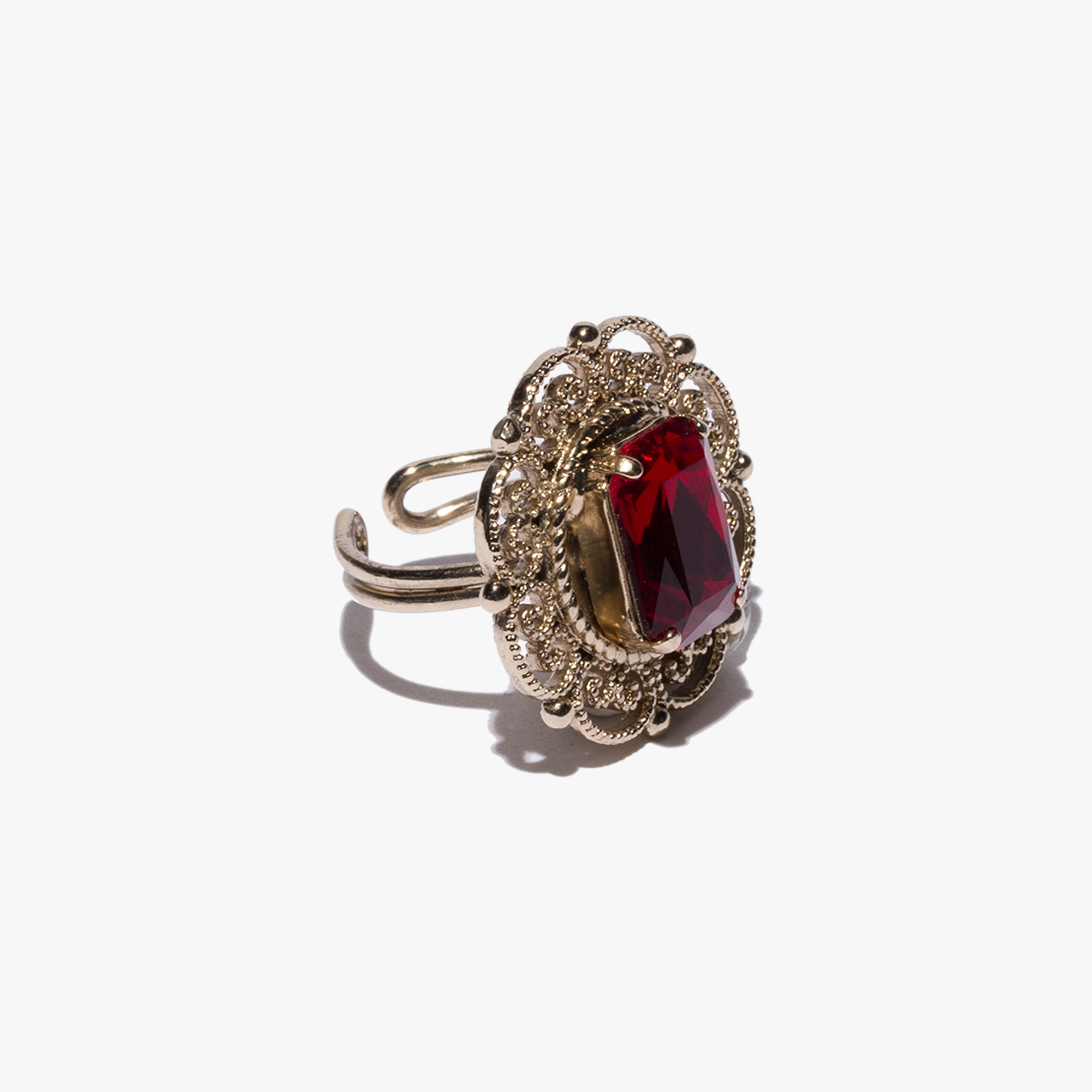 Brass and crystal ring
