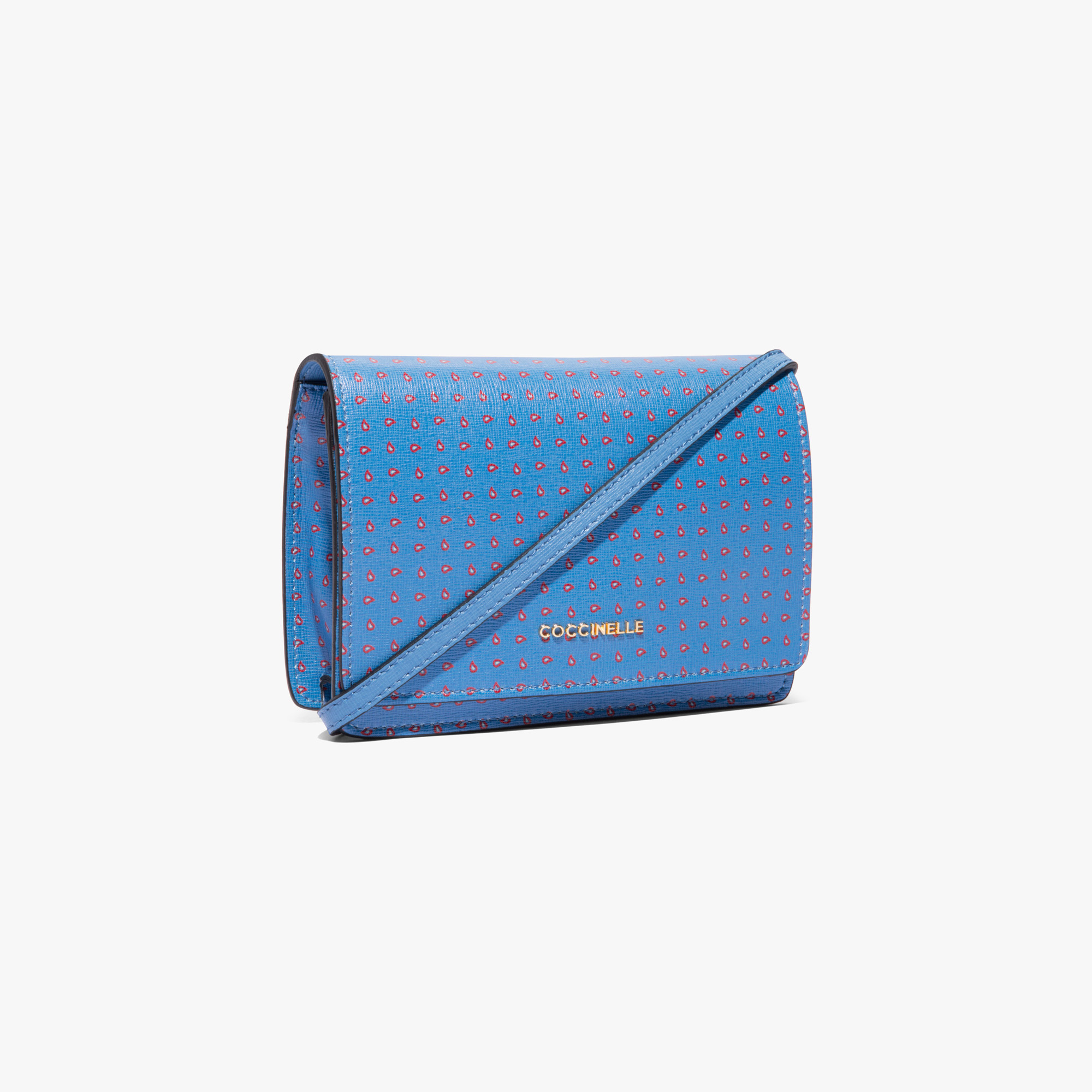 Printed saffiano leather clutch bag