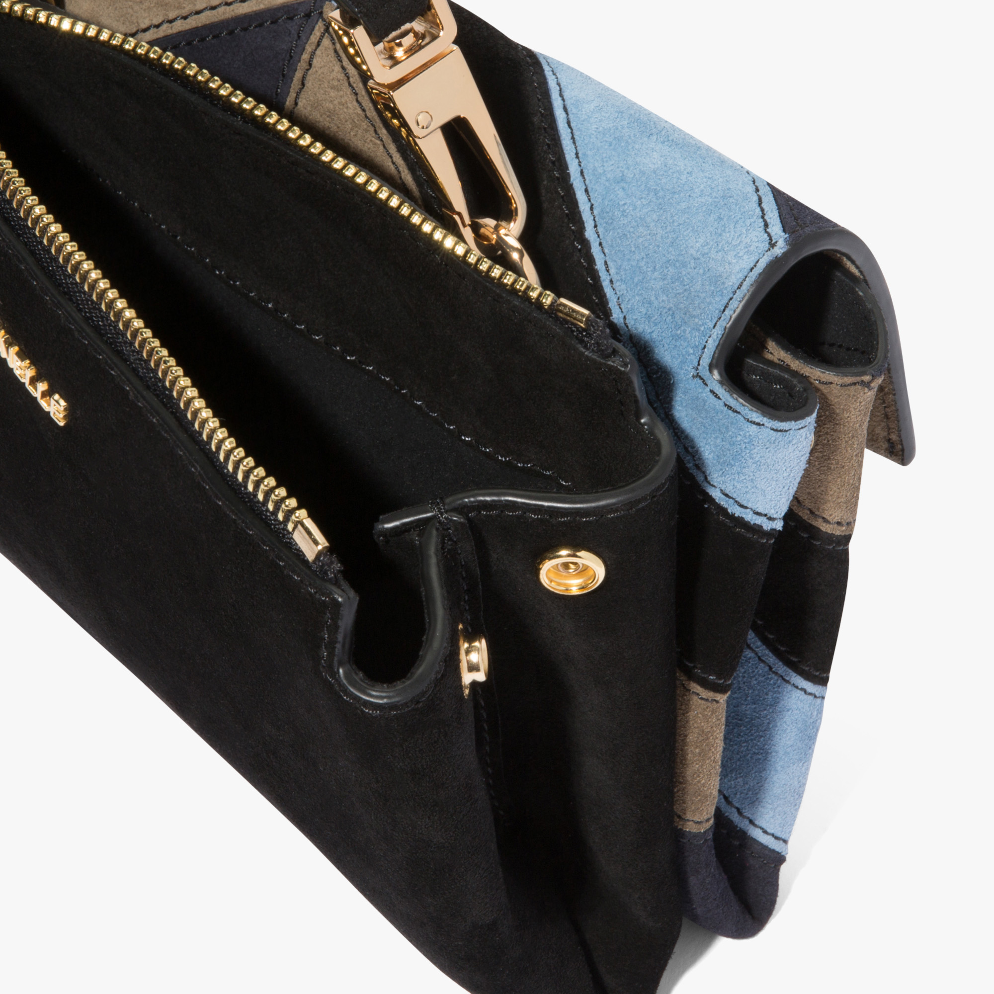 Arlettis suede and leather mini bag