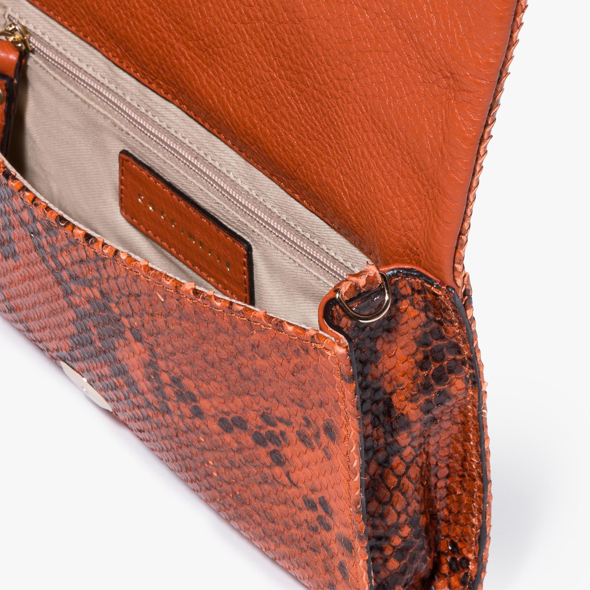 Python-print leather clutch